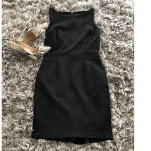 Ann Taylor Black Sleeveless Midi Career Dress